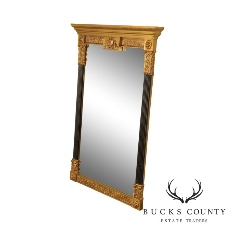 Neo-Classical Style Black & Gold Lions Head Beveled Mirror