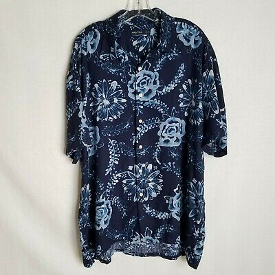 Nautica Mens Blue 100% Silk Floral Button Front S/S Hawaiian Shirt Size 2XL L410