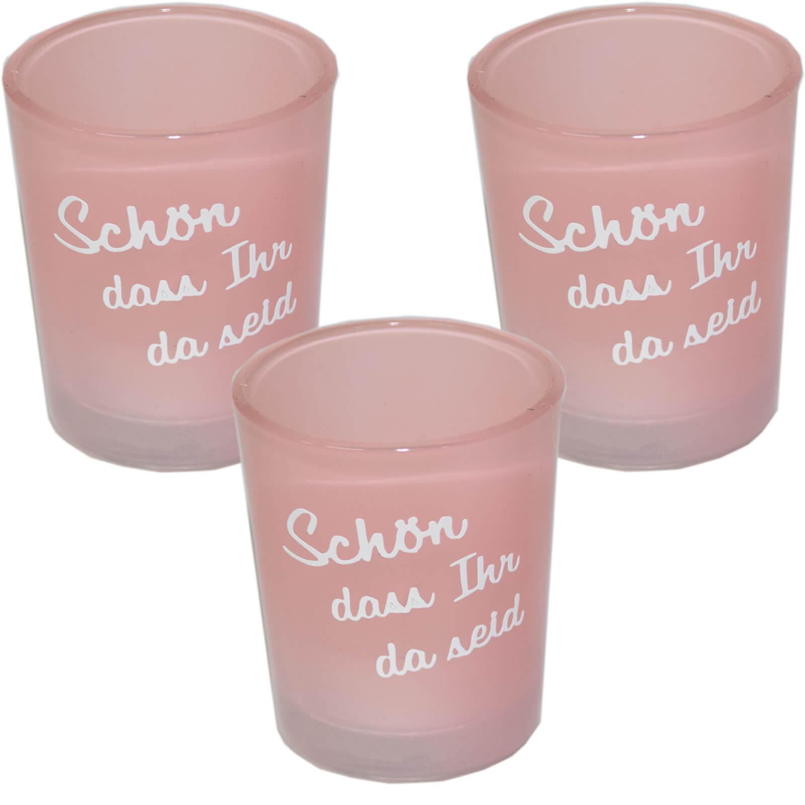 ღ 3 x  Teelichtglaeser ღ Hochzeit Konfirmation Kommunion Taufe Tischdeko rosa