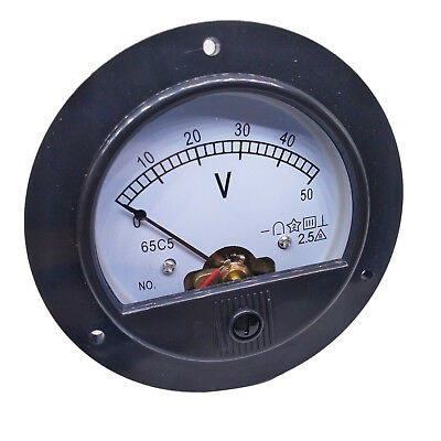 Us Stock Dc 0 50v Round Analog Volt Pointer Needle Panel Meter Voltmeter