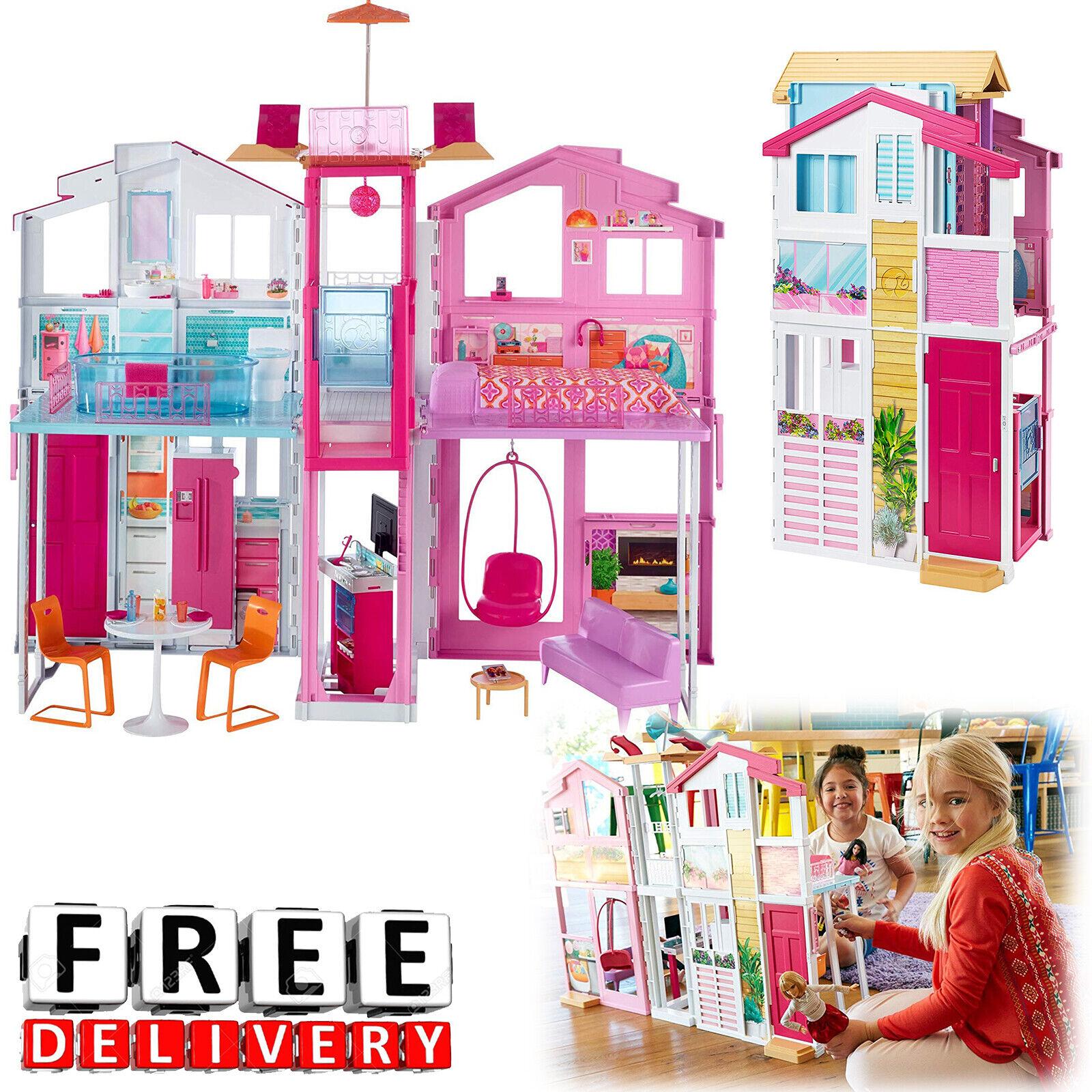 Barbie House 3 Story Dream Furniture Playhouse Dollhouse Gir