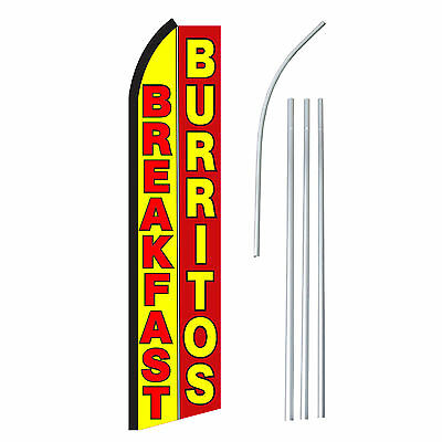 Breakfast Burritos Advertising Feather Flutter Swooper 2.5 Banner Flag And Pole