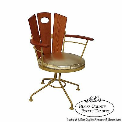 Vintage Woodard Custom Iron & Oak Arm Chair
