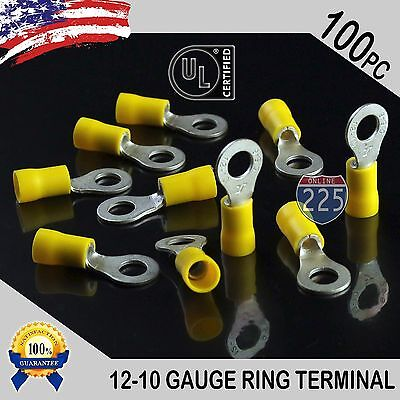 100 Pack 12-10 Gauge 14 Stud Insulated Vinyl Ring Terminals Tin Copper Core Us