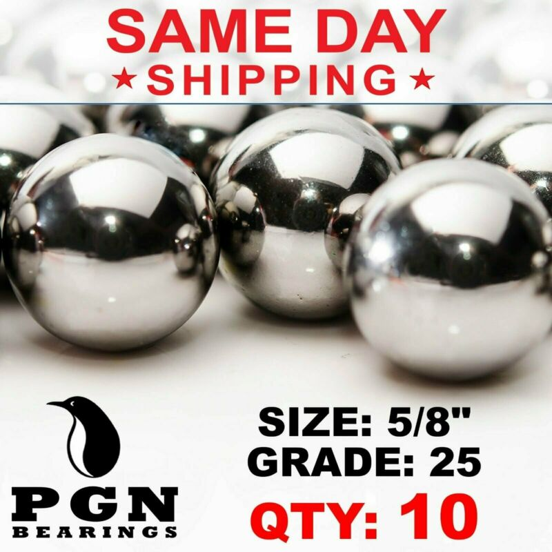 "10 QTY - 5/8"" Inch G25 Precision Chrome Steel Bearing Balls Chromium AISI 52100"
