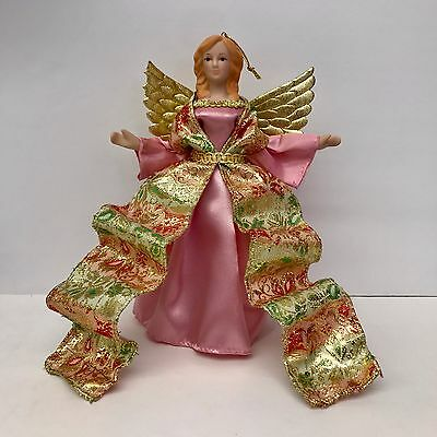 Angel Christmas Ornament or Tree Topper Pink with Metallic Gold Accents 8.25in H