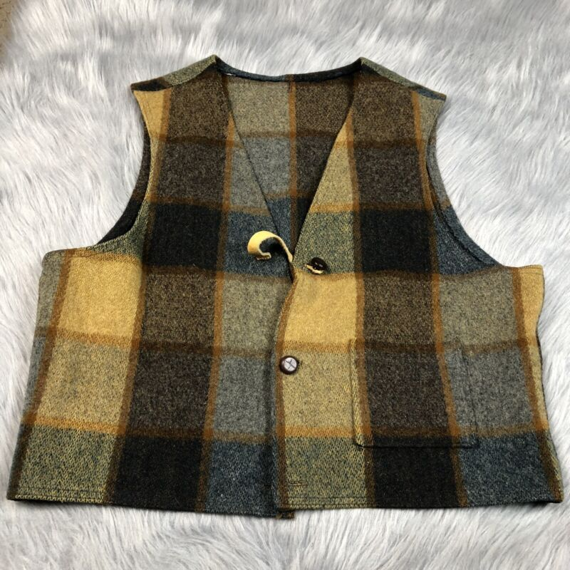 Vintage 50s/60s Mens Navy Brown Wool Plaid Button Up Vest