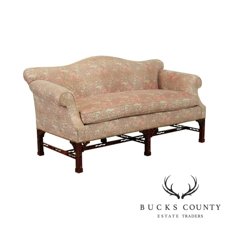 Chippendale Style Carved Base Camelback Sofa