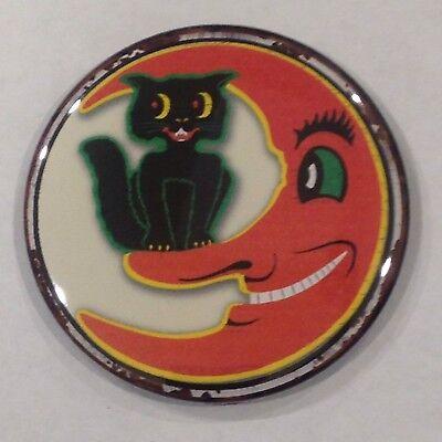 Halloween Cat & Moon Vintage Style Fridge Magnet Buy 1 Get 1 FREE