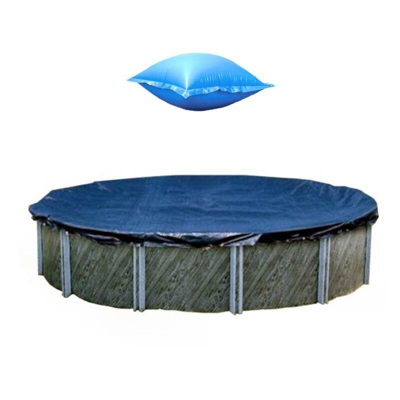 Swimline 28 Foot Round Winter Pool Cover + 4x8 Winterizing Closing Air Pillow