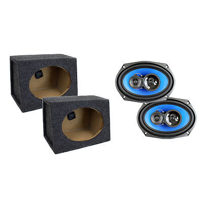 Car Audio Speaker Enclosures (Q Power Angled 6 x 9 Inch Car Audio Speaker Enclosures w/ Coaxial Speakers, Pair )