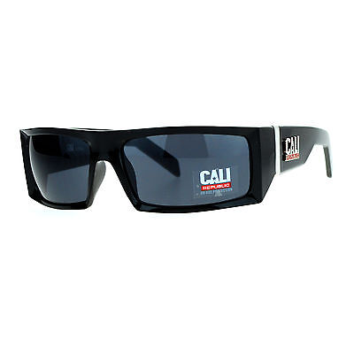 Cali Republic Mens Sunglasses Hard Rectangular Biker Fashion Shades (Cali Sunglasses)