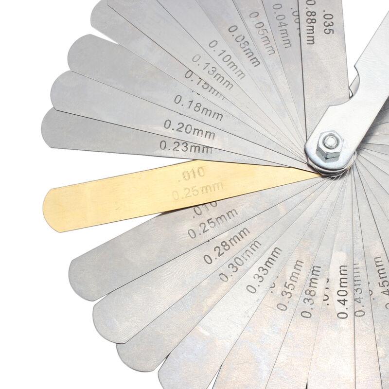 32 Blades Steel Feeler Gauge Dual Marked Metric Imperial Gap Measuring Tool US