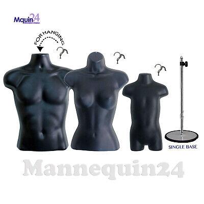 3 Black Mannequin Torsos - Male Female Toddler Form Set 3 Hangers 1 Stand