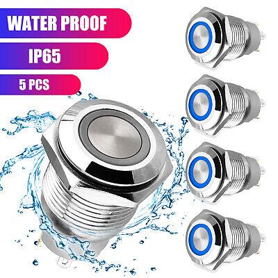 5pcs 12v 19mm Blue Led Push Button Latching Switch Car Fog Lights Socket Plug