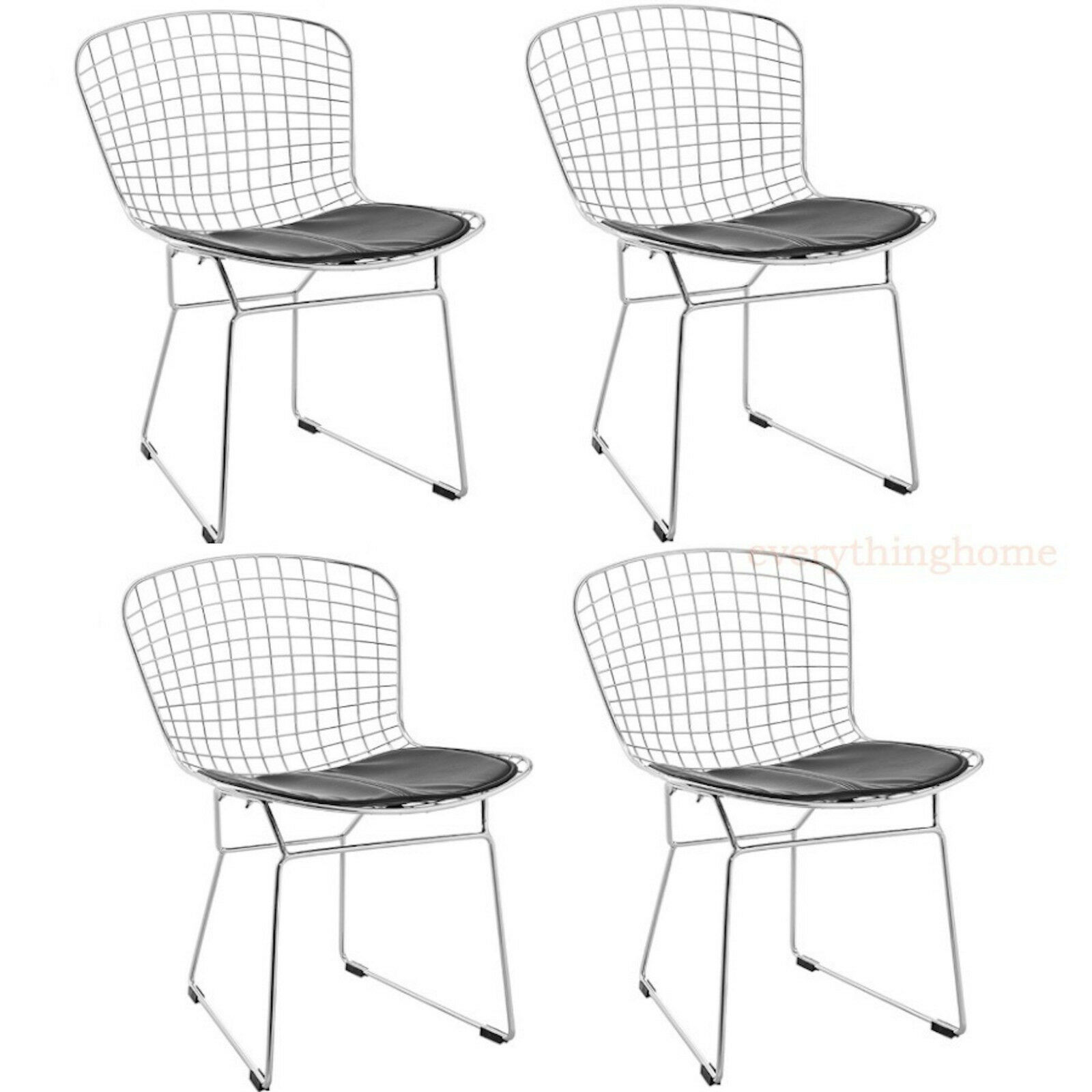 4x bertoia style chair dining side cafe steel wire chrome mesh black pad 331 lb