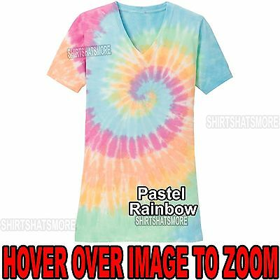- Ladies PASTEL Tie Dye V-NECK T-Shirt Tye Die Womens XS S, M, L, XL, 2XL 3XL 4XL