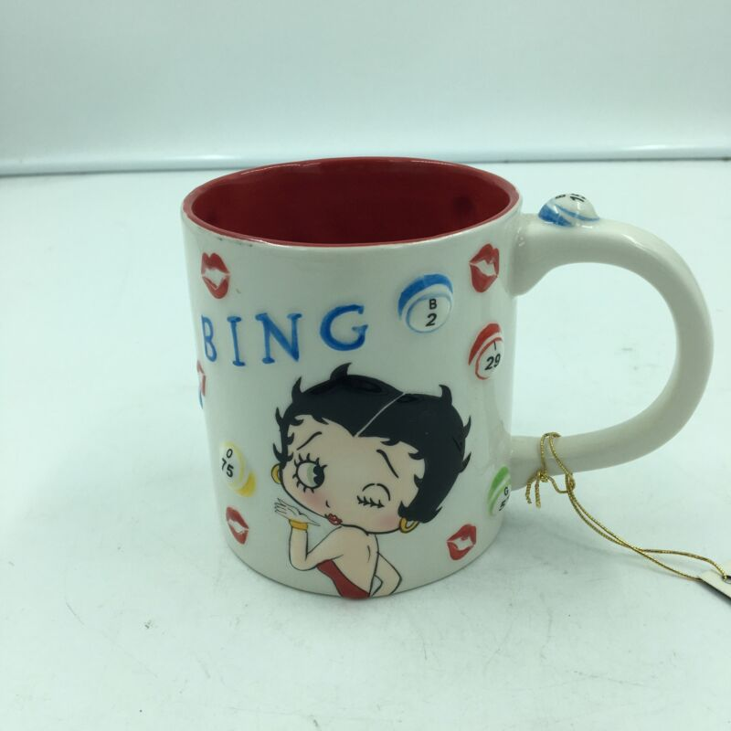 Betty Boop Bingo Mug Raised Bingo Numbers On The Side of Mug W/ Betty & Pudgy
