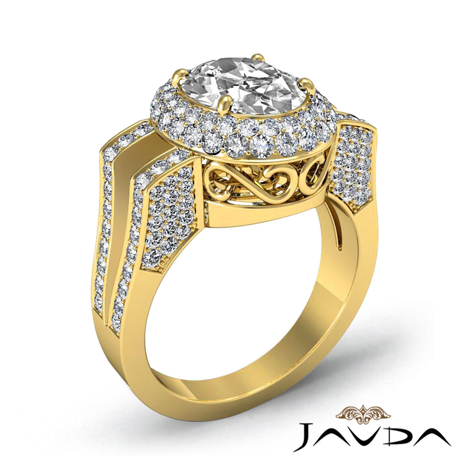 1.9ctw Gala Halo Split Shank Oval Diamond Engagement Ring GIA E-VS2 White Gold 8