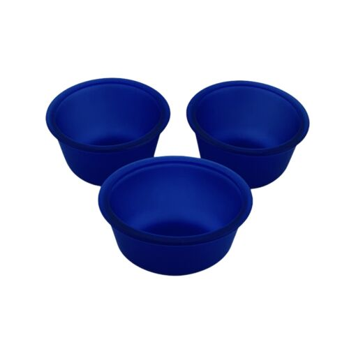 Anchor Hocking Oval Custard Cups 10 oz Set of 3 Satin Frosted Cobalt Blue #