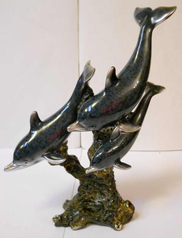 """DOLPHIN STATUE, 3 GORGEOUS DOLPHINS """"SWIMMING"""" ON CORAL, STUNNING 9"""" PIECE, NEW!"""
