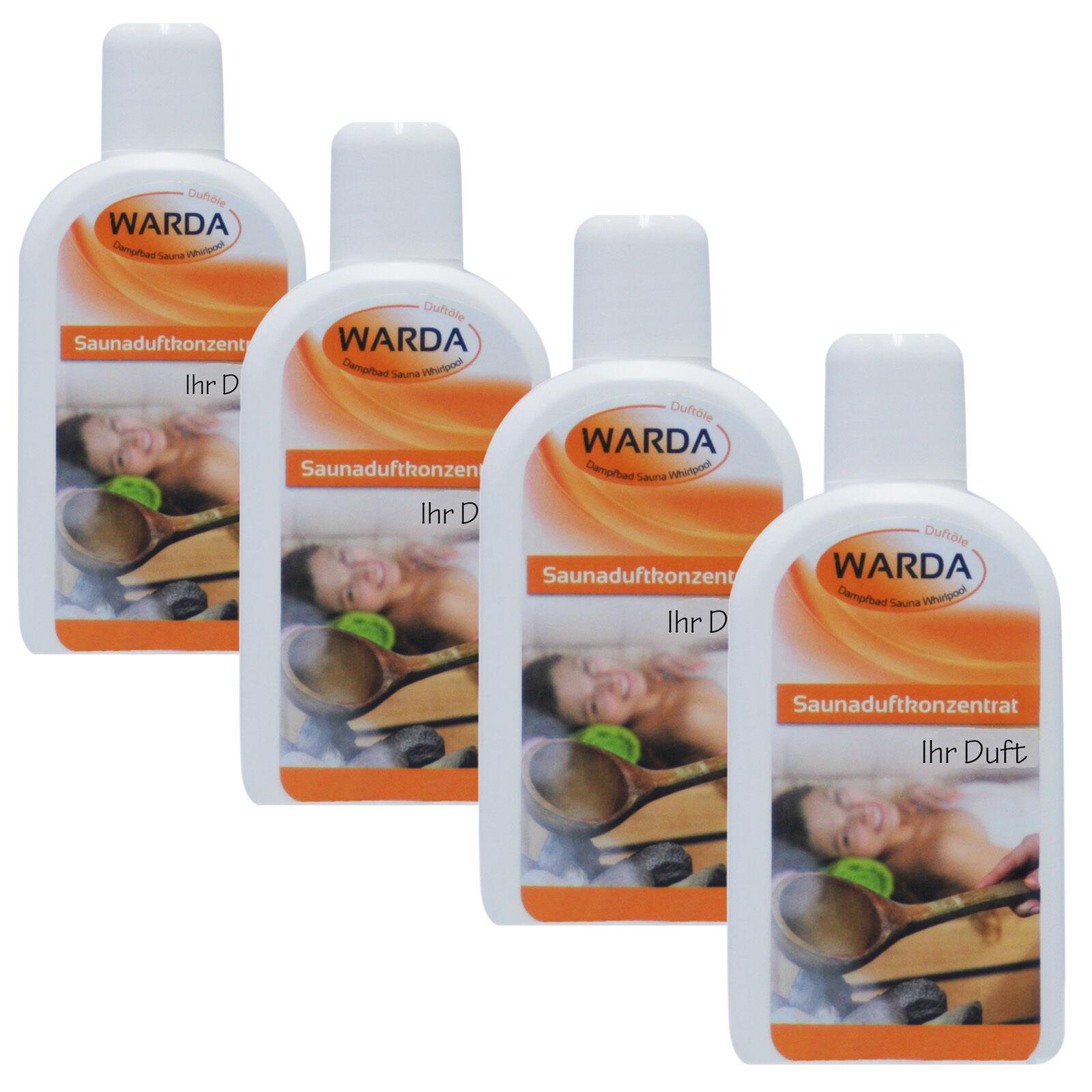 Warda Saunaaufguss Saunaduft 4x 200 ml freie Duftwahl + Probe Mentholkristalle