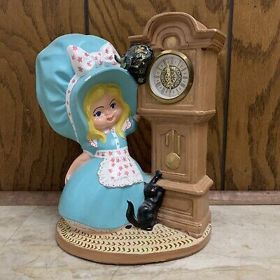 Vintage 1974 Byron Molds Ceramic Bonnet Girl With Cat Grandfather Clock - Blue