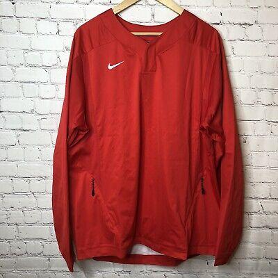 Nike Baseball Vapor Long Sleeve Pullover Windshirt Jacket Red/White Men's Size -