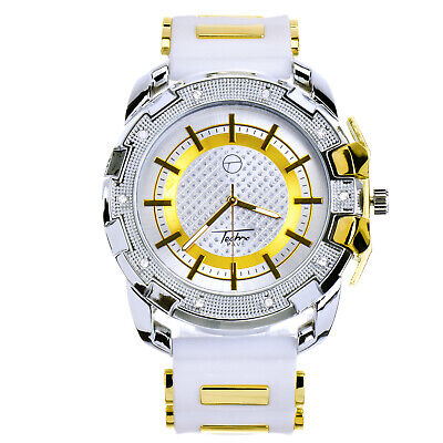 Men's Hip Hop Iced White Silicone Band Techno Pave Watch WR 8344 TTWH