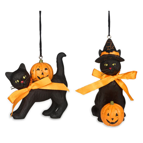 Set/2 Bethany Lowe Witches Black Cat Pumpkin Halloween Ornaments Retro Decor