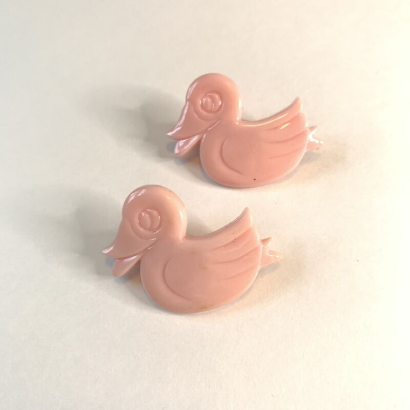 Vintage 1960s Pink Plastic Duck Child