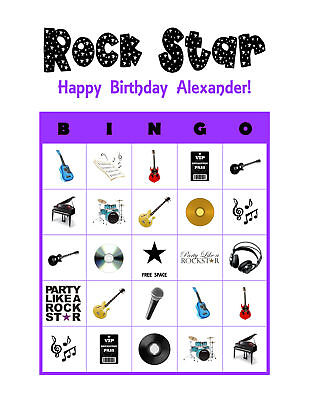 Rock Star Birthday Party Game Personalized Bingo - Rock Star Birthday Party