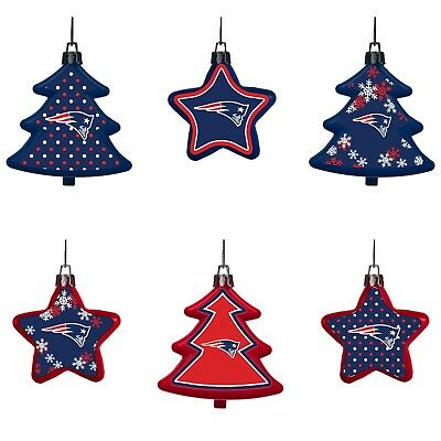 New England Patriots Shatterproof TREES & STARS Christmas Tree Ornaments 6 pack ()