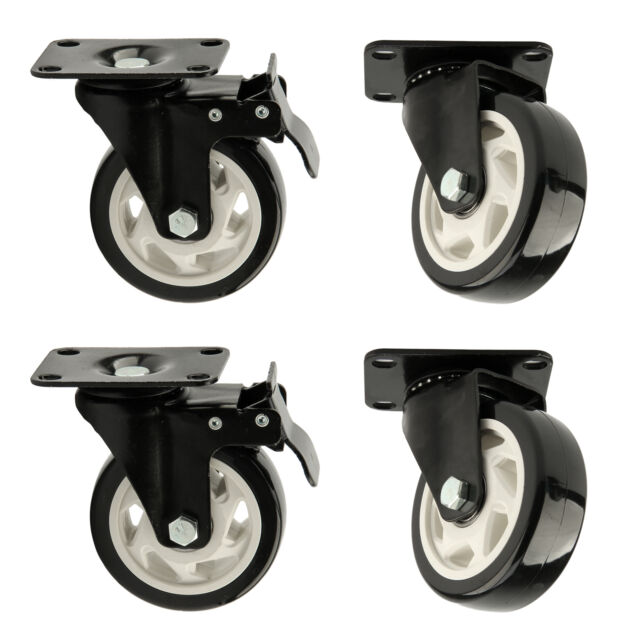 4 Heavy Duty 100MM 600kg PU Swivel Castor Wheels Trolley Caster Rubber Furniture