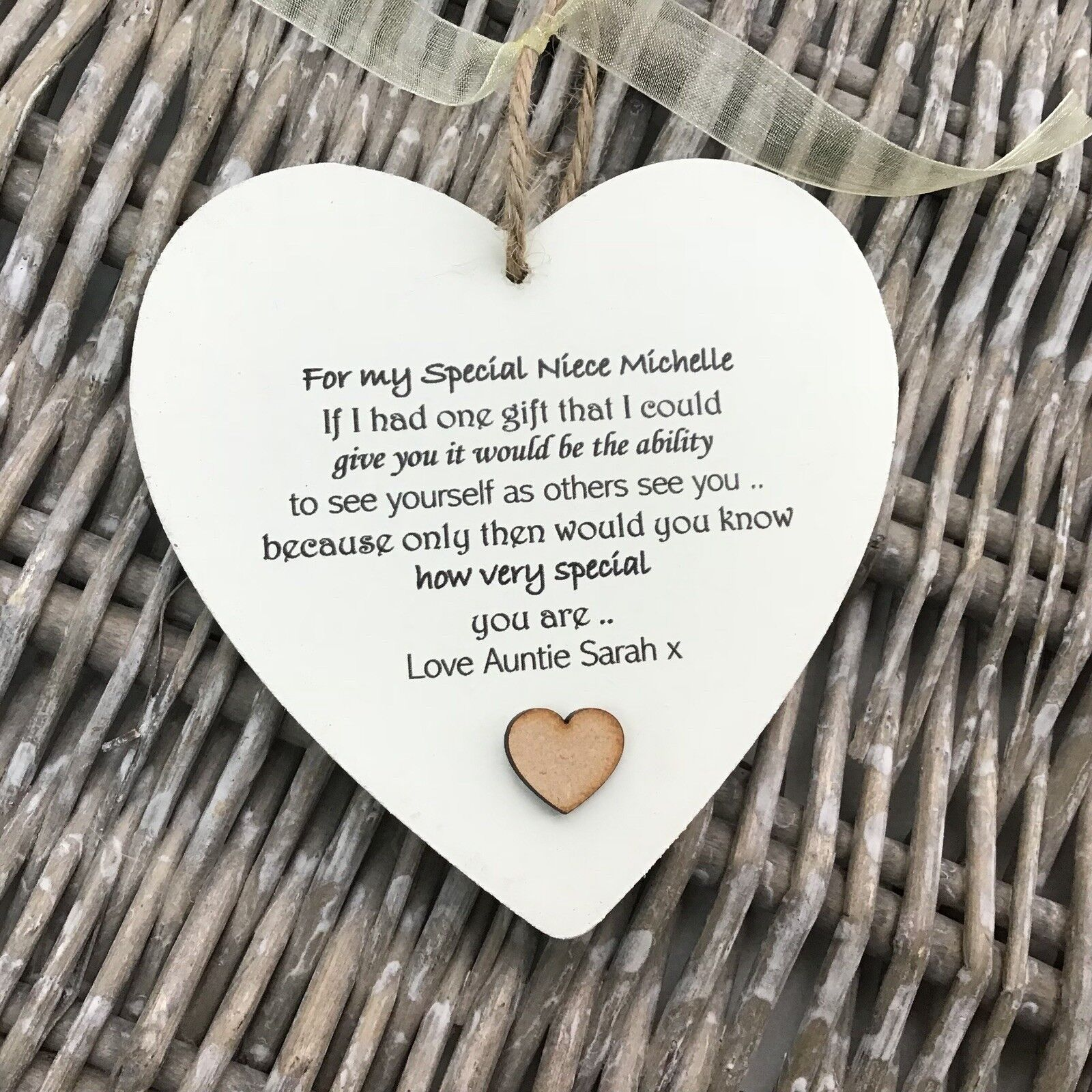 Shabby personalised Gift Chic Heart Plaque Special NIECE Gift ANY NAMES Birthday