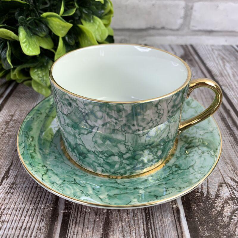 Lusterware Green Marble Tea Cup & Saucer Fine Porcelain Herman Dodge Made Japan
