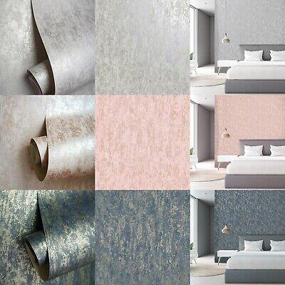 Holden Decor Metallic Industrial Distressed Texture Grey Blush Navy Wallpaper