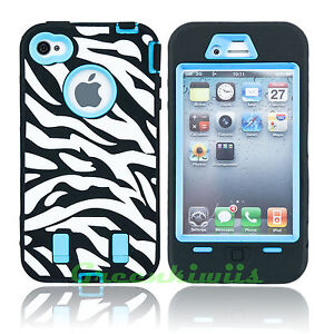 FOR IPHONE 4S 4 HYBRID CASE HEAVY DUTY DEFENDER WITH BUILT IN SCREEN PROTECTOR