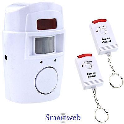 105 dB Alarmanlage mit 2 Hand Fernbedienungen Alarm Anlage kabellos Sirene