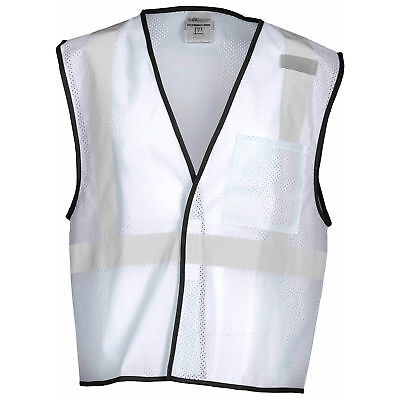 Ml Kishigo Non-ansi Reflective Mesh Safety Vest With Pocket White