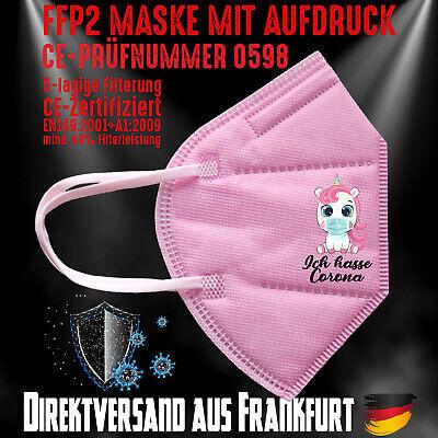 FFP2 Maske Mundschutz Mundmaske rosa CE 0598 Einhorn Unicorn Ich hasse Corona