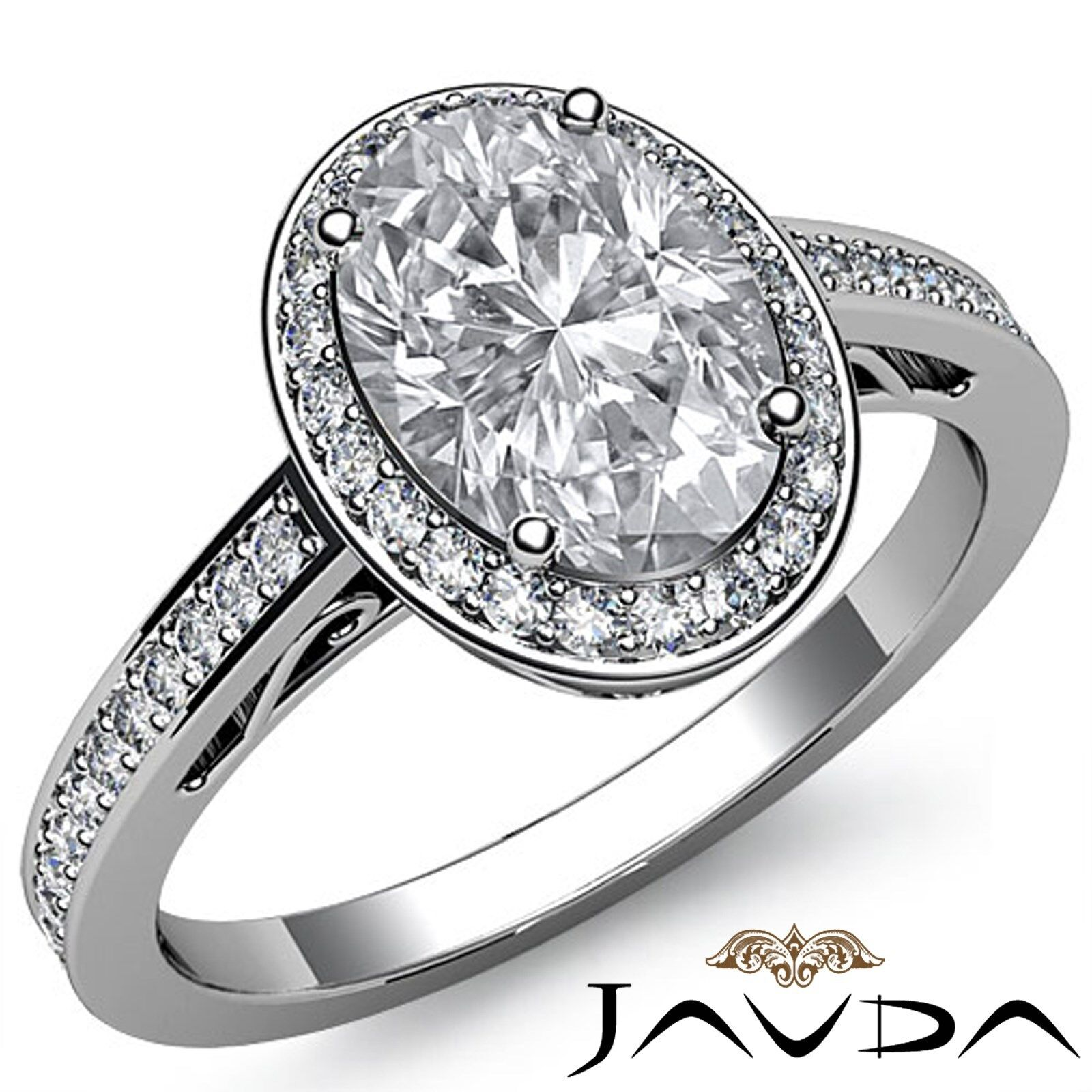 Halo Filigree Shank Micro Pave Oval Diamond Engagement Ring GIA I Color VS2 2Ct