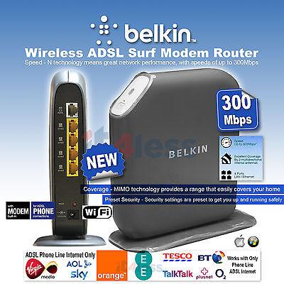 Belkin F7D2401quk Wireless ADSL Surf Modem Router 300Mbps ADSL Phone connection