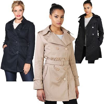 Womens Ladies Trench Coat Classic Mac Tailored Stylish Belted Long Jacket 8-18