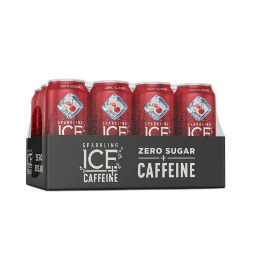 Sparkling Ice +Caffeine Cherry Vanilla Sparkling Water 16 Fl Oz , 12 Pack