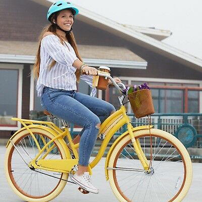 Cruiser Bike For Women Beach Bikes 26 Inch Bicycles Vintage Yellow With Basket