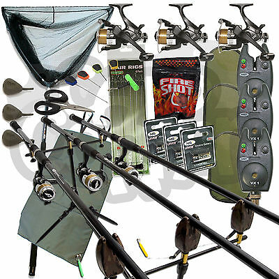 Full Carp fishing Set Up Complete With 3x Rods Reels Alarms Landing Net & Tackle
