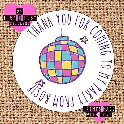 Personalised disco ball 24 party bag stickers sweet cone labels thank you - Disco Ball Stickers