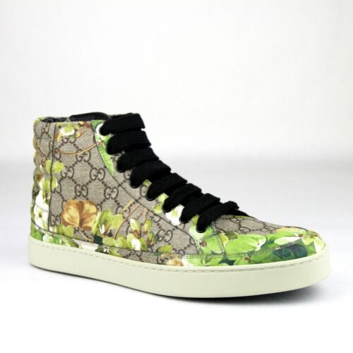 Gucci Supreme GG Canvas Bloom Print Hi Top Sneakers Shoes Green 407342 8960