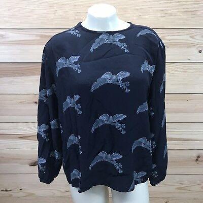 Jones New York Womens Shirt Size 12 Navy Gray Bird Branch Long Sleeve Blouse B72